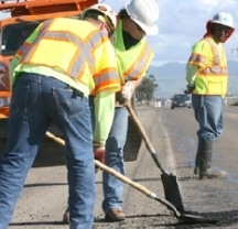 Construction Workers on a Highway